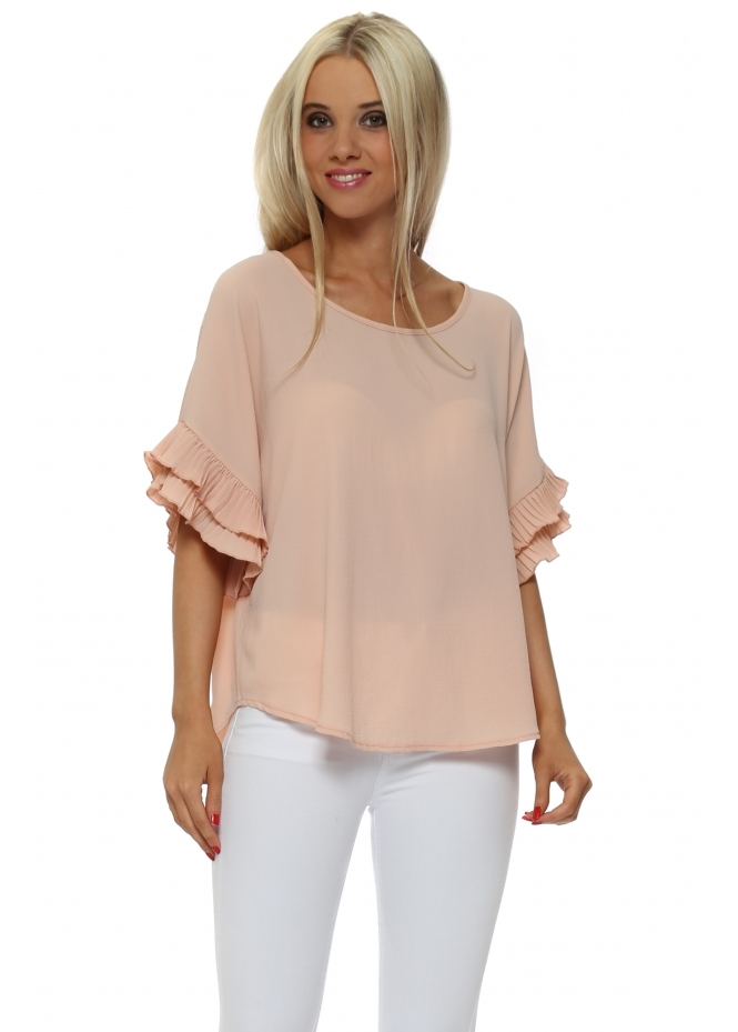 French Boutique Nude Pink Pleated Sleeve Crepe Baggy Top