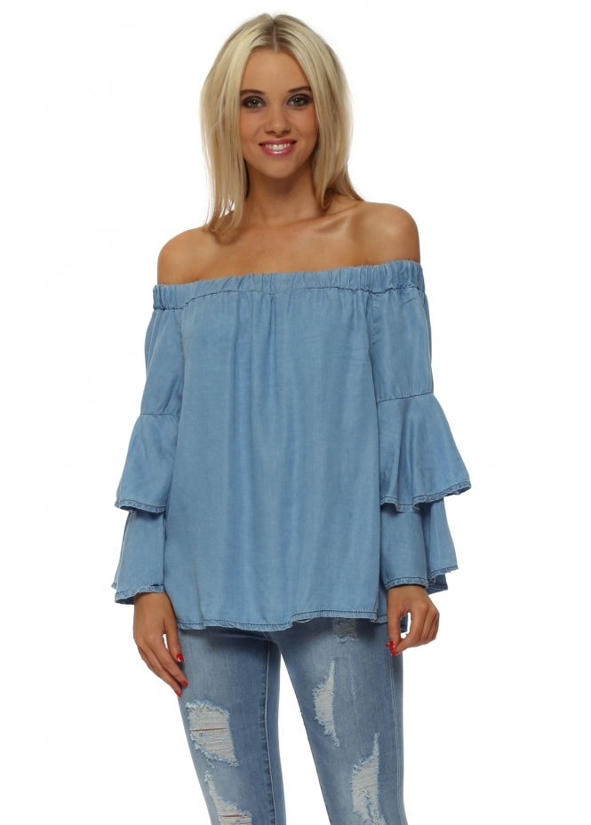 Made In Italy Blue Off The Shoulder Layered Top