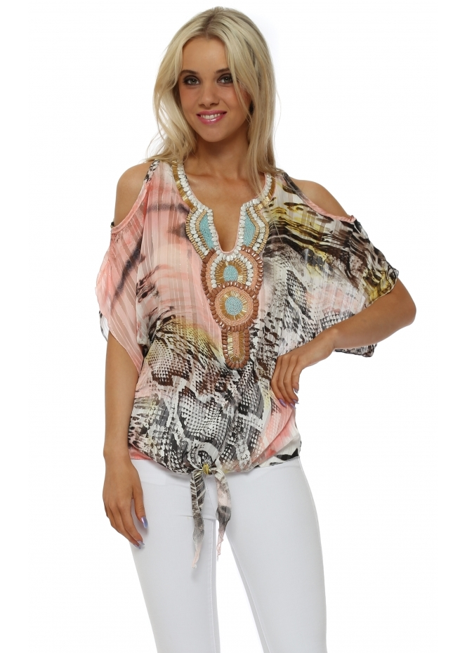 French Boutique Coral Snake Print Beaded Cold Shoulder Top