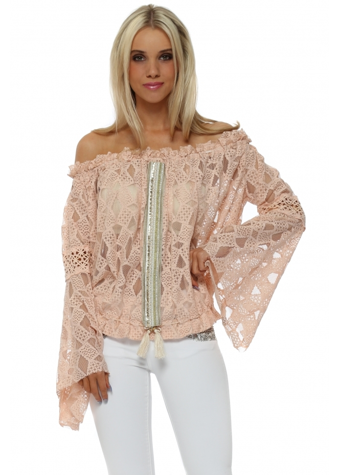 Laurie & Joe Nude Pink Lace Embellished Bell Sleeve Top