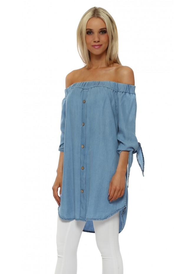 Made In Italy Denim Blue Off The Shoulder Tie Cuff Top