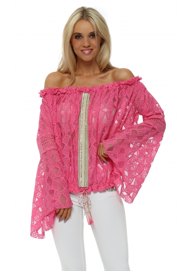 Laurie & Joe Hot Pink Lace Embellished Bell Sleeve Top