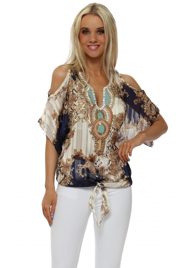 French Boutique Navy Snake Print Beaded Cold Shoulder Top