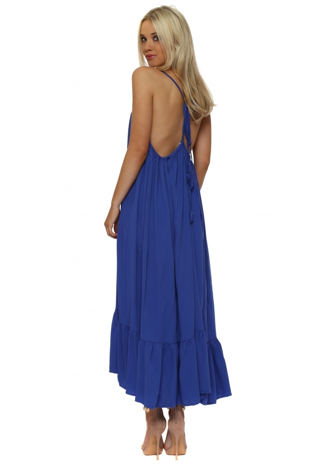 Senes Cobalt Blue Tie Open Back Boho Frill Maxi Dress