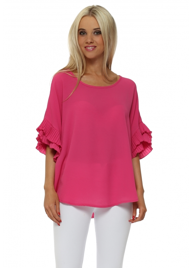 French Boutique Fuchsia Pleated Sleeve Crepe Baggy Top