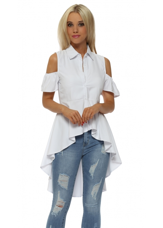 French Boutique White Cold Shoulder High Low Shirt