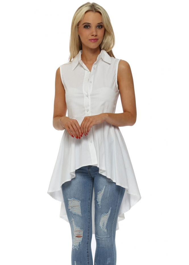 French Boutique White Dip Hem Frill Sleeveless Shirt