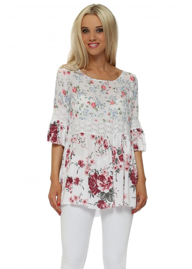 Italian Boutique Double Floral Print Short Sleeve Tunic Top