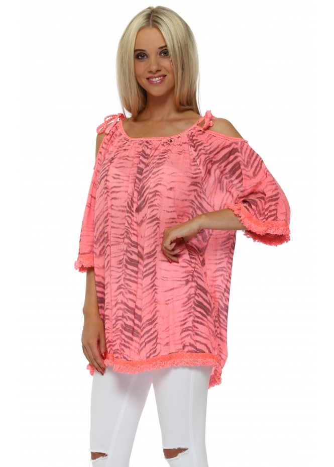 Italian Boutique Neon Coral Animal Print Cold Shoulder Tunic Top