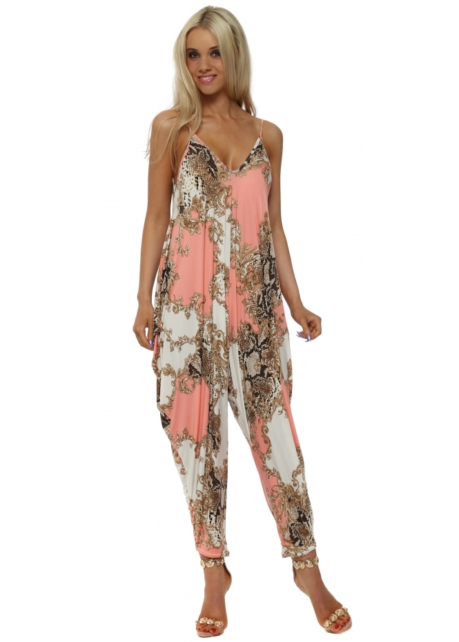 French Boutique Coral Vintage Print Parachute Jumpsuit