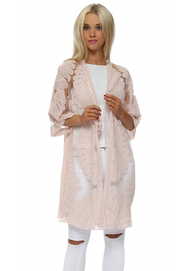 French Boutique Baby Pink Cotton Embroidered Kimono