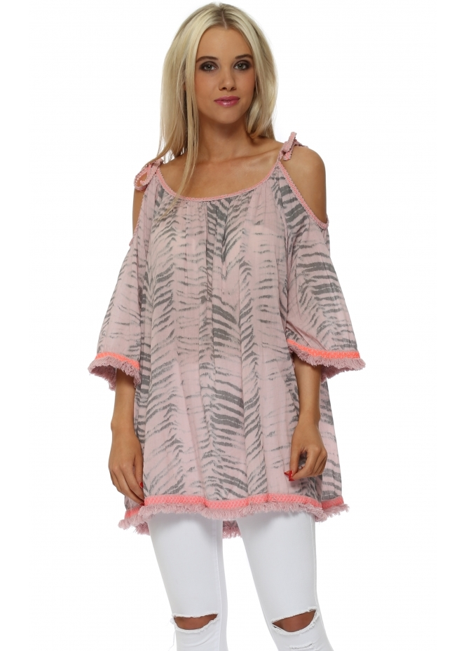 Italian Boutique Pink Animal Print Cold Shoulder Tunic Top
