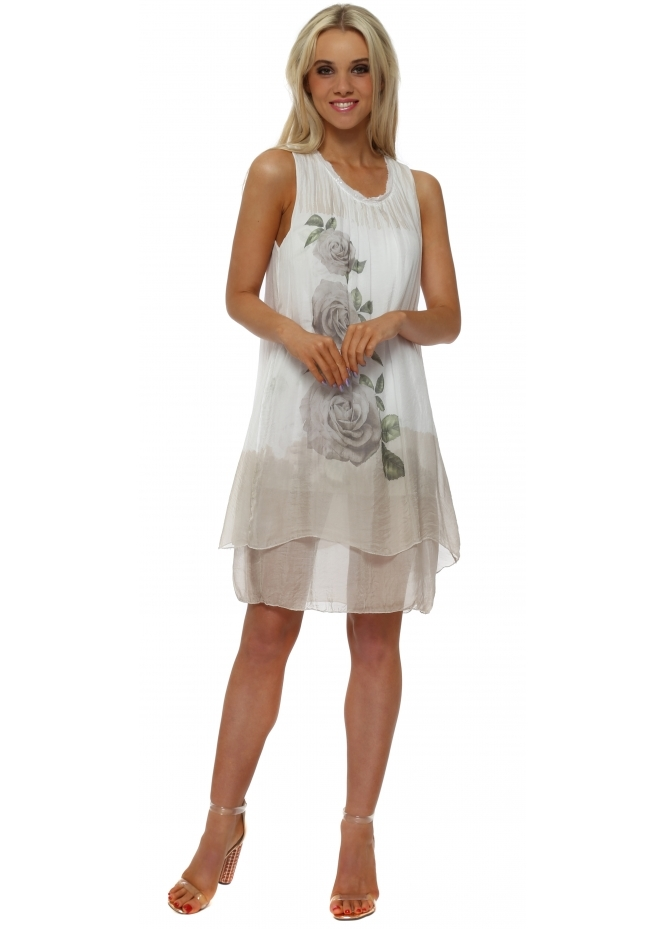 Shyloh Beige Rose Print Tiered Silk Dress