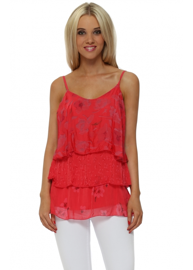 Italian Boutique Coral Floral Silk Tiered Strappy Top
