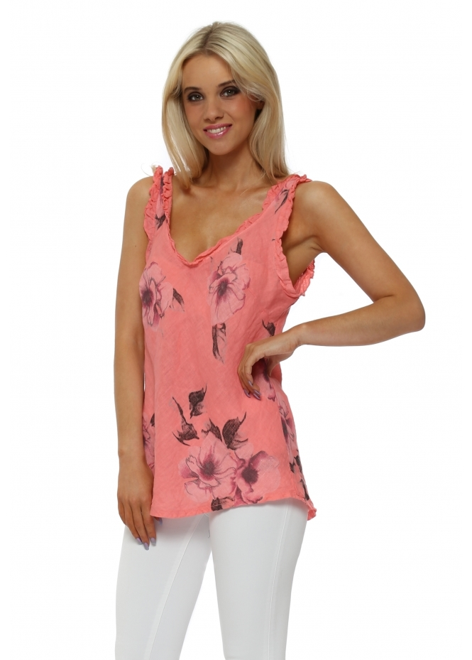 Made In Italy Coral Floral Frill Linen Vest