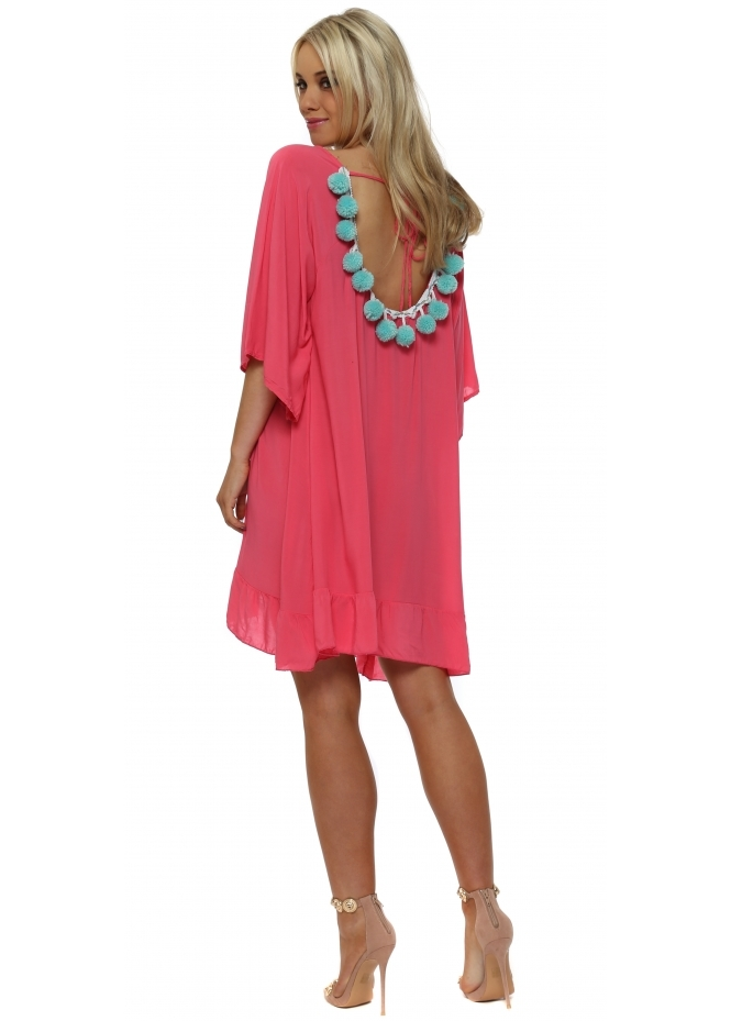French Boutique Pink Loose Tunic With Aqua Pom Poms