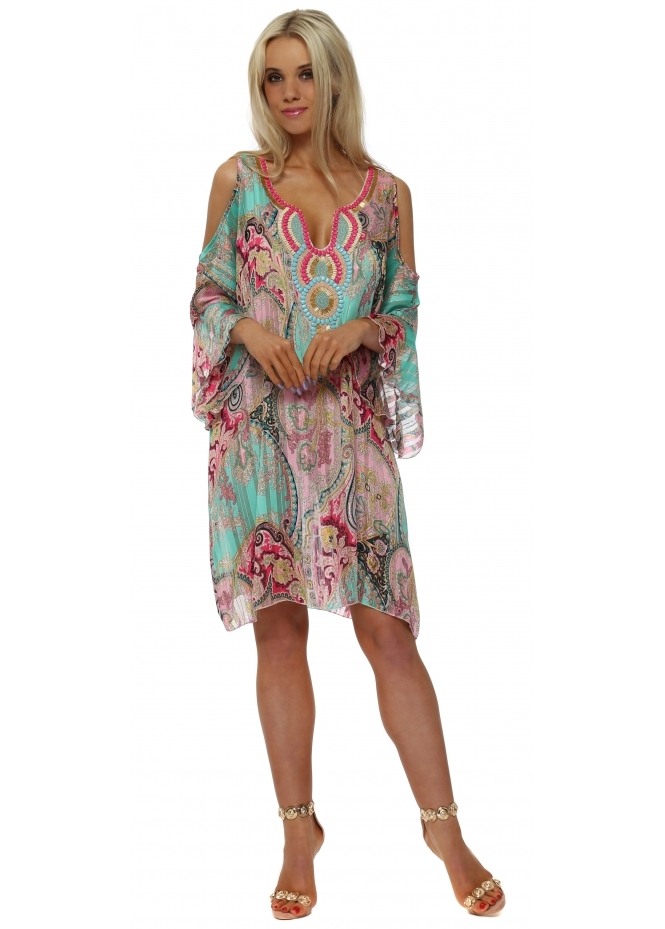 French Boutique Chiffon Paisley Beaded Cold Shoulder Tunic Dress