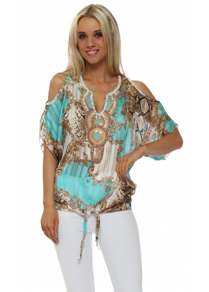 French Boutique Aqua Filigree Snake Print Beaded Cold Shoulder Top