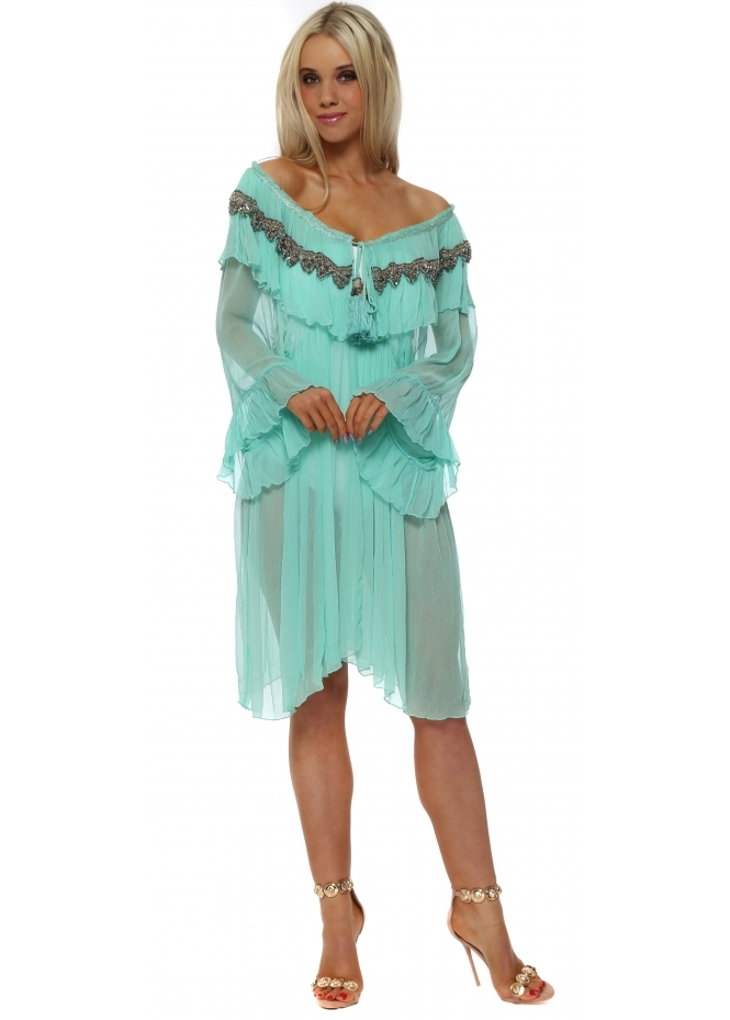 Laurie & Joe Aqua Ruffled Jewelled Kaftan Dress