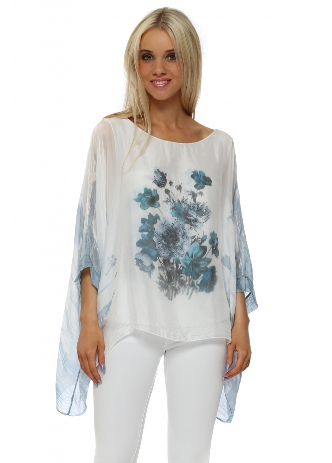 Made In Italy Blue Floral Sparkle Silk Batwing Top