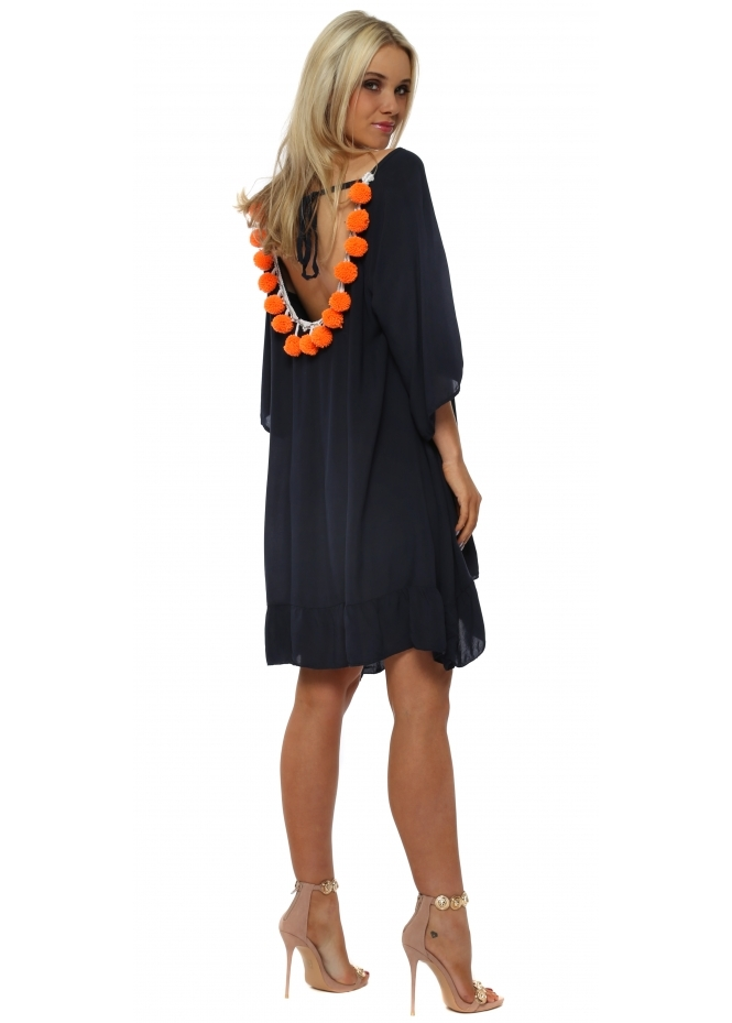French Boutique Navy Loose Tunic With Orange Pom Poms