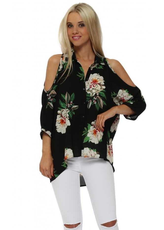 French Boutique Black Floral Cold Shoulder Blouse