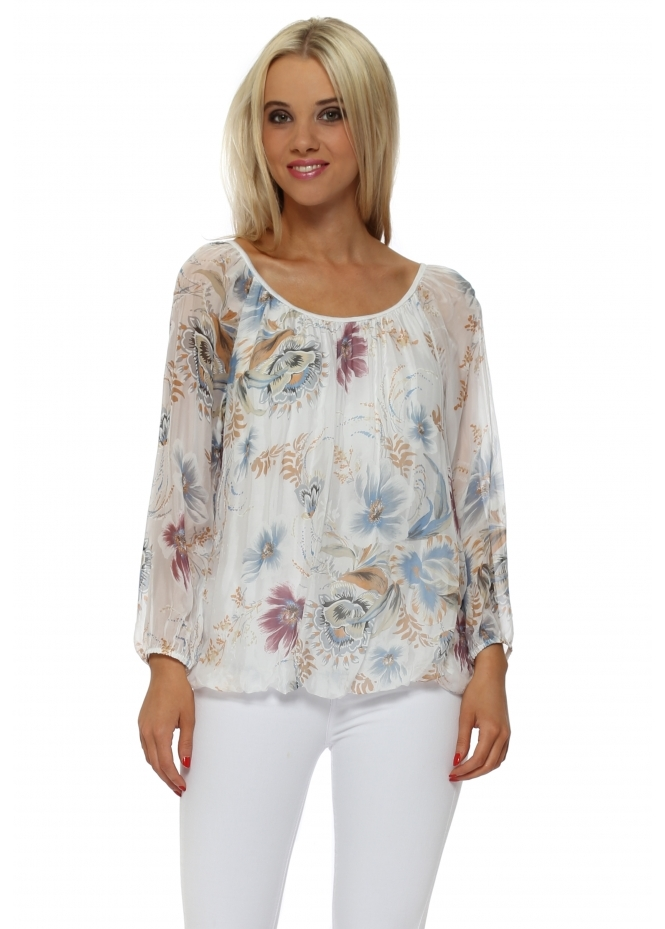 Made In Italy White Floral Silk Crochet Web Back Top