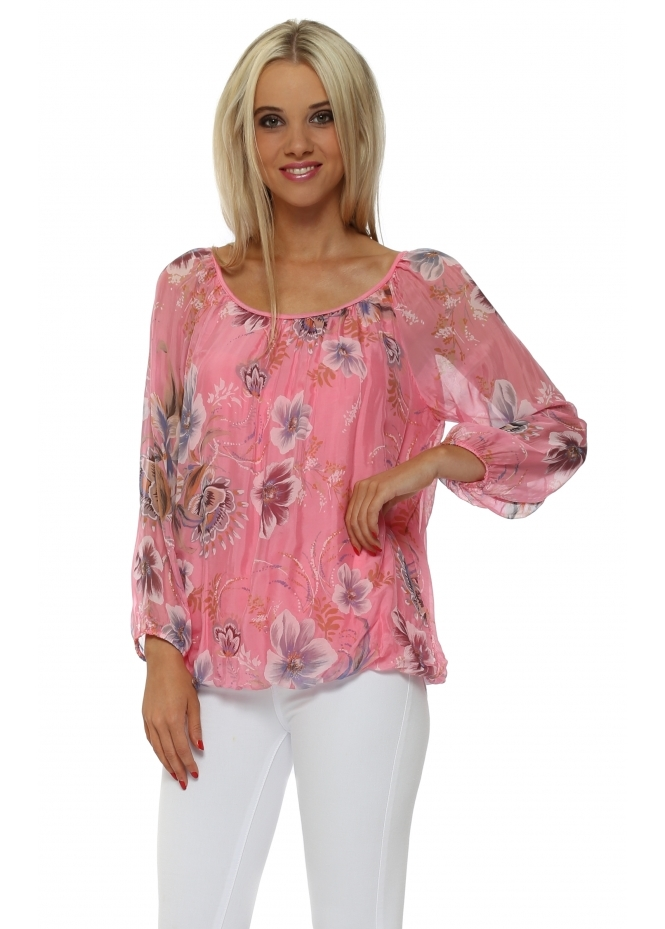 Made In Italy Candy Pink Floral Silk Crochet Web Back Top