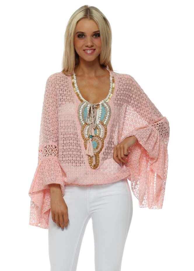 Laurie & Joe Pink Crochet Lace Embellished Bell Cuff Top