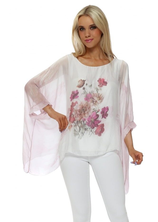 Made In Italy Pink Floral Sparkle Silk Batwing Top