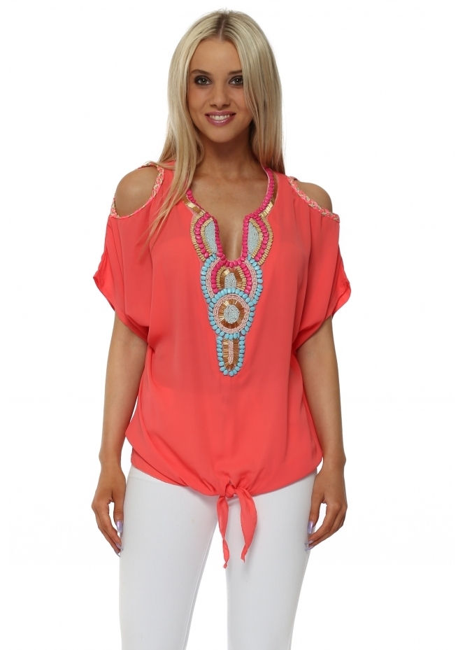 French Boutique Coral Beaded Cold Shoulder Tie Knot Top