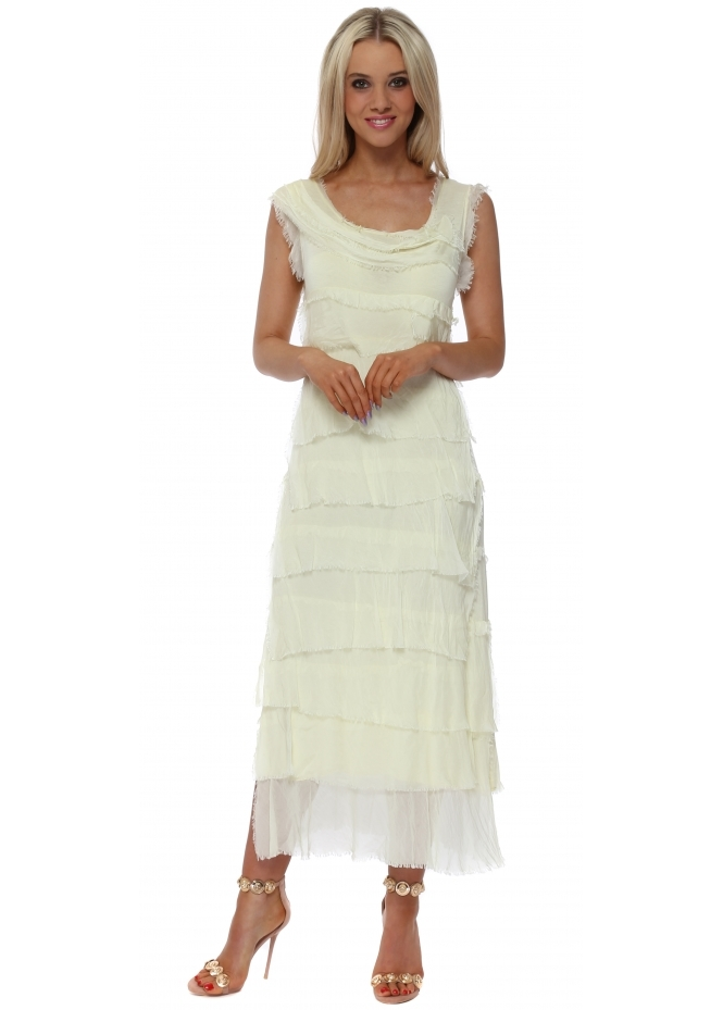 Monton Lemon Frayed Silk Layered Maxi Dress