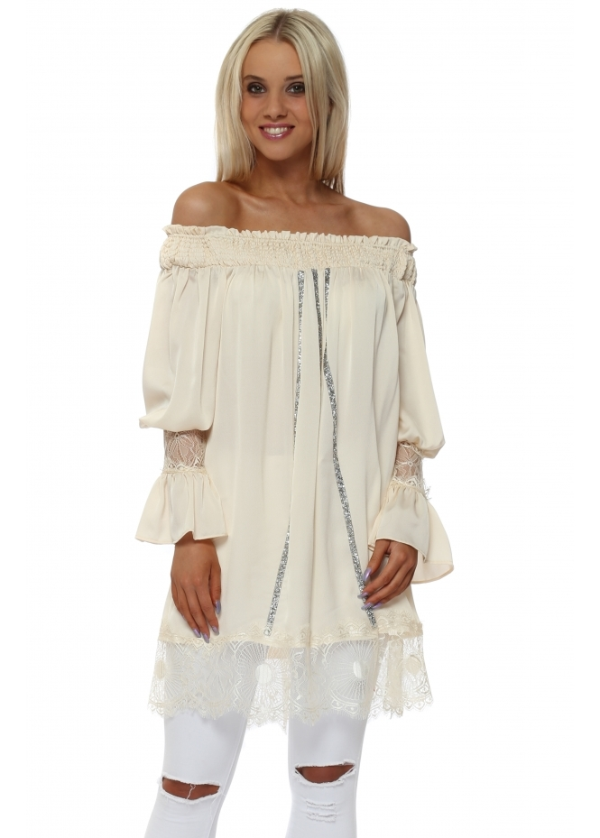 Monaco Cream Crystal Off The Shoulder Tunic Top
