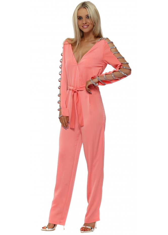 Monaco Coral Crystal Ladder Sleeve Jumpsuit