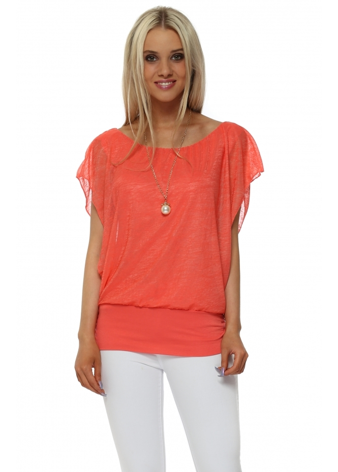Italian Boutique Coral Sleeveless Bandeau Hem Necklace Top