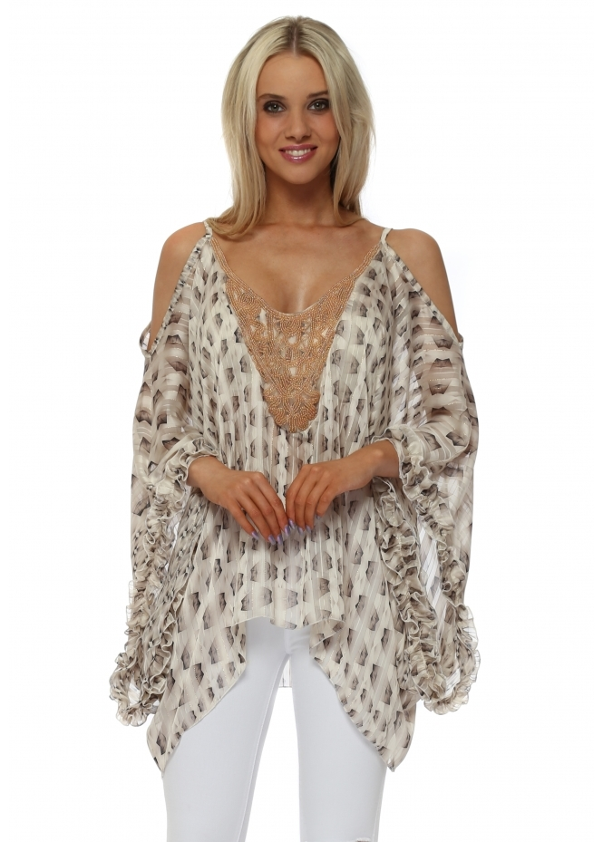 My Story Mocha Print Cold Shoulder Beaded Kaftan Top