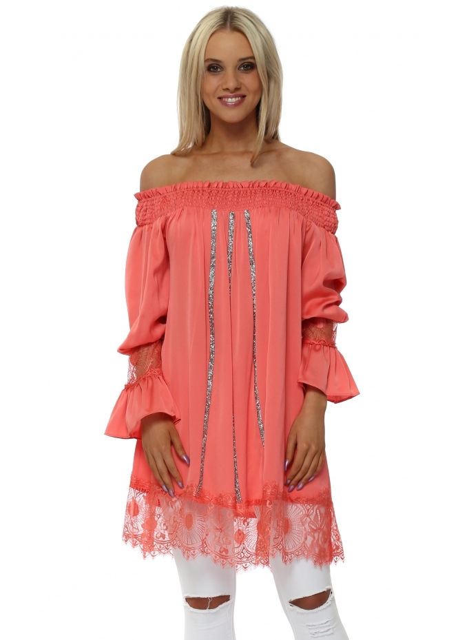 Monaco Coral Crystal Off The Shoulder Tunic Top