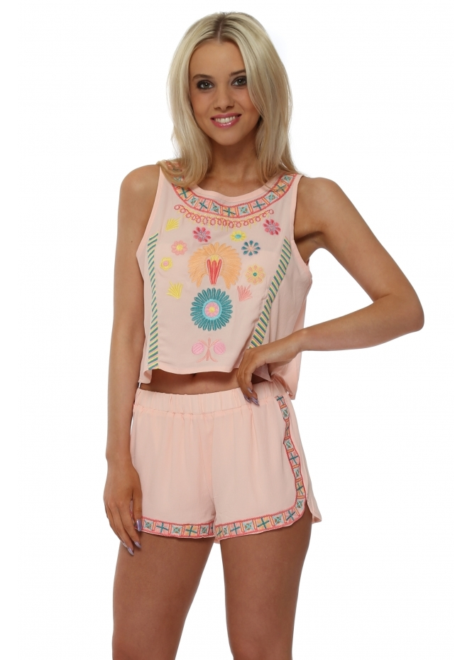 French Boutique Pink Embroidered Short & Top Set