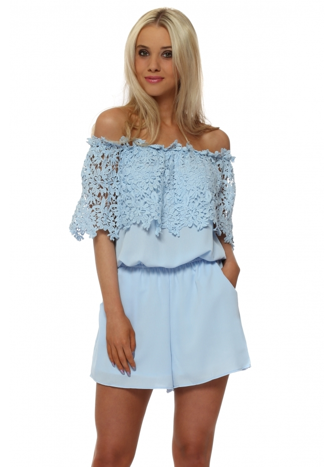 French Boutique Baby Blue Crochet Bardot Playsuit
