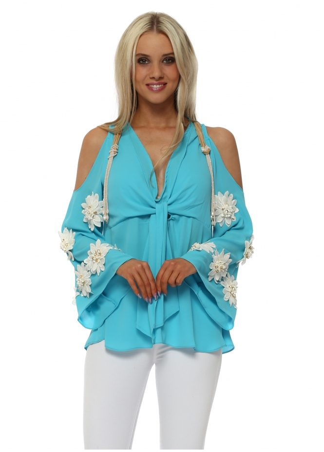 Monaco Turquoise Diamante Flowers Cold Shoulder Blouse