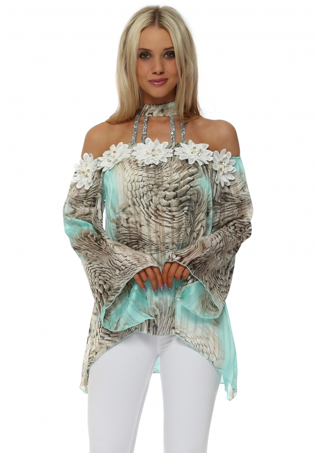 Monaco Turquoise Snake Print Choker Cold Shoulder Top