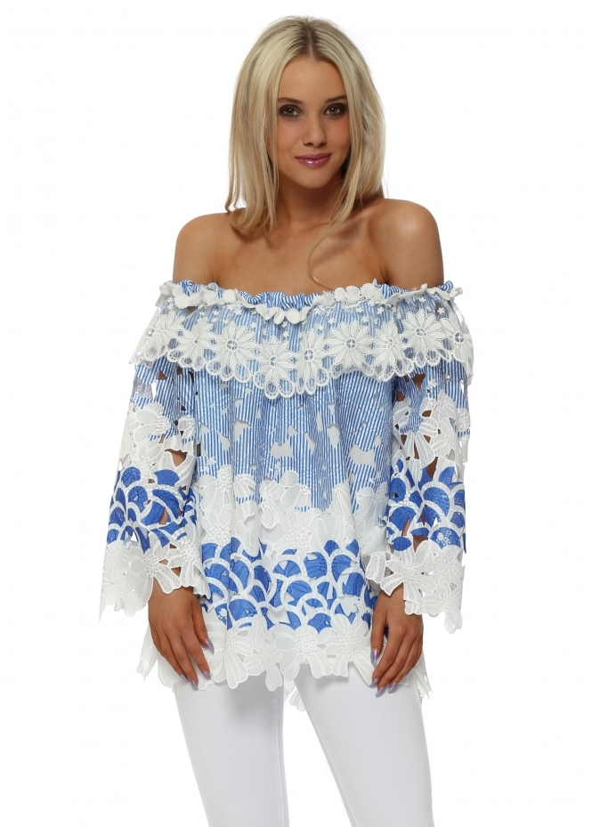 Monaco Blue Floral Stripe Cut Out Bardot Top