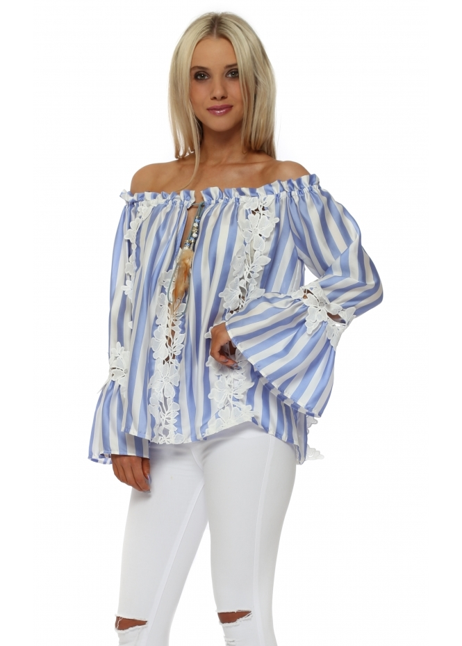 Monaco Blue Pin Stripe Floral Off The Shoulder Top