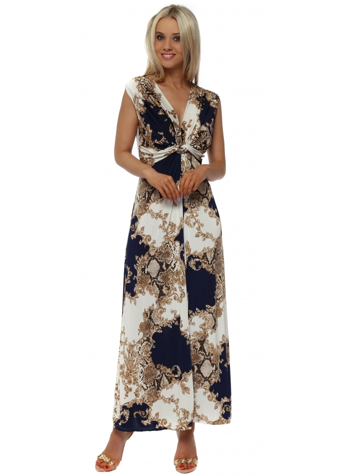 Italian Boutique Navy & Gold Vintage Print Maxi Dress