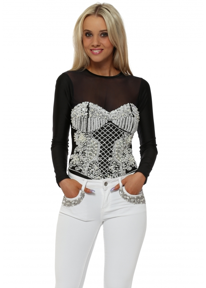 Starry Eyed EXCLUSIVE Pearl Embellished Black Bodysuit