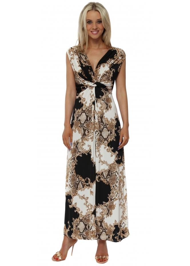 Italian Boutique Black & Gold Vintage Print Maxi Dress