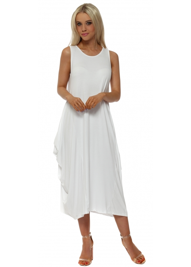 Made In Italy White Jersey Parachute Dress