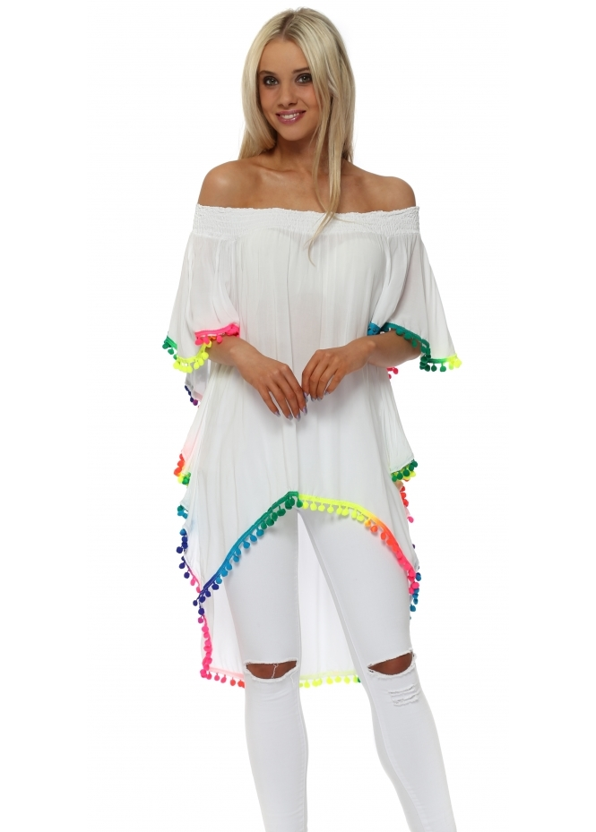Made In Italy White Off The Shoulder Rainbow Pom Pom Top