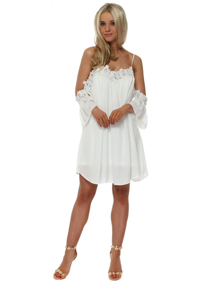 French Boutique White Crochet Trim Cold Shoulder Swing Dress