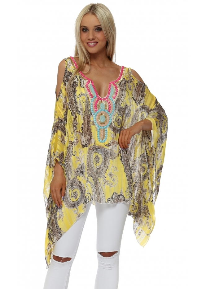 Troiska Yellow Paisley Print Embellished Cold Shoulder Kaftan Top